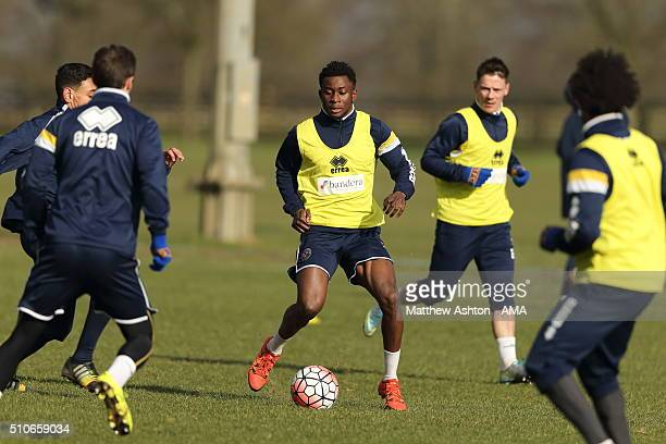Larnell Cole of Shrewsbury Town during a training session ahead of their FA Cup tie against Manchester United at the Lilleshall Hall National Sports...