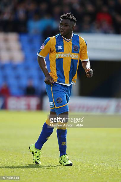 Larnell Cole of Shrewsbury Town during the Sky Bet Football League One match between Shrewsbury Town and Peterborough United at Greenhous Meadow...