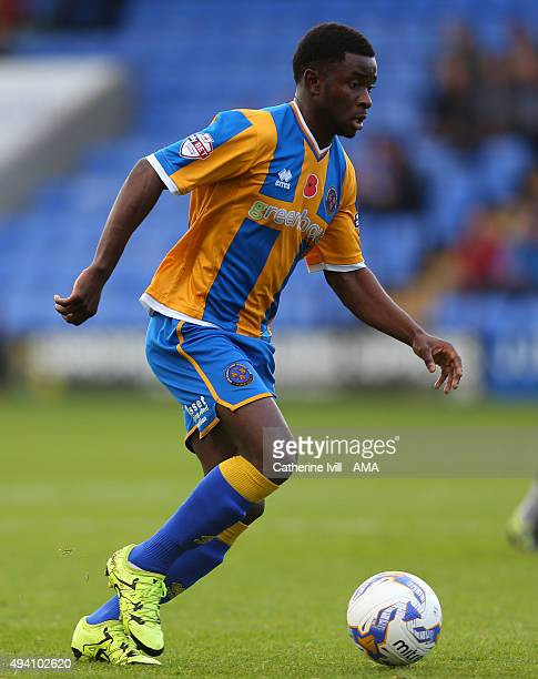 Larnell Cole of Shrewsbury Town during the Sky Bet League One match between Shrewsbury Town and Bury at Greenhous Meadow on October 24 2015 in...