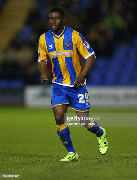 Larnell Cole of Shrewsbury Town during the Sky Bet League One match between Shrewsbury Town and Oldham Athletic at New Meadow on January 26 2016 in...