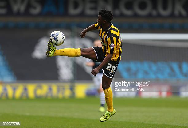 Larnell Cole of Shrewsbury Town during the Sky Bet League One match between Millwall and Shrewsbury Town at The Den on April 9 2016 in London England