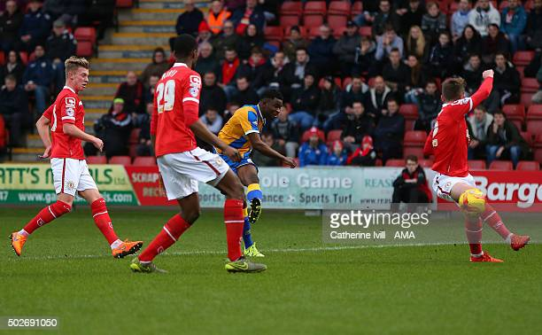 Larnell Cole of Shrewsbury Town scores a goal to make it 01 during the Sky Bet League One match between Crewe Alexandra and Shrewsbury Town at The...