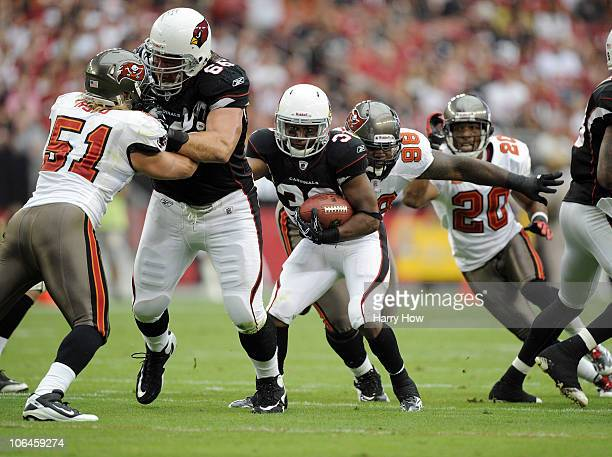 LaRod StephensHowling of the Arizona Cardinals gets a block from Alan Faneca as he attempts to elude Barrett Ruud and Ryan Sims of the Tampa Bay...