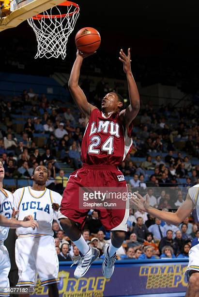 LaRon Armstead of the Loyola Marymount Lions shoots against the UCLA Bruins at Pauley Pavilion December 17 2008 in Westwood California UCLA won 7544