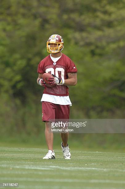 Laron Landry first round draft pick of the Washington Redskins practices during Redskins rookie camp at their practice facilty on May 5 2007 in...