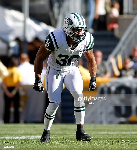 LaRon Landry of the New York Jets awaits the snap against the Pittsburgh Steelers during the game on September 16 2012 at Heinz Field in Pittsburgh...