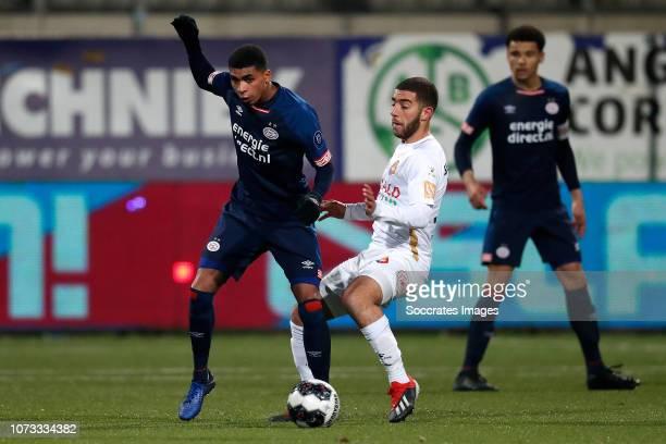 Laros Duarte of PSV U23 Anass Najah of Telstar during the Dutch Keuken Kampioen Divisie match between Telstar v PSV U23 at the Rabobank IJmond...