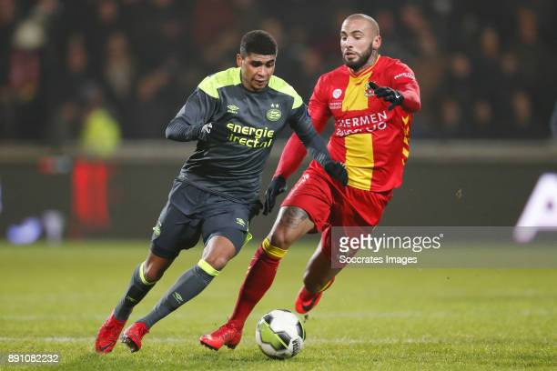 Laros Duarte of PSV U23 Joey Suk of Go Ahead Eagles during the Dutch Jupiler League match between Go Ahead Eagles v PSV U23 at the De Adelaarshorst...