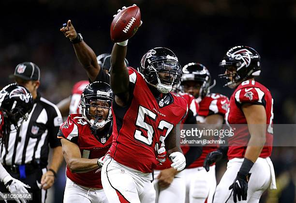 LaRoy Reynolds of the Atlanta Falcons celebrates after recovering a fumble during the first half of a game against the New Orleans Saints at the...