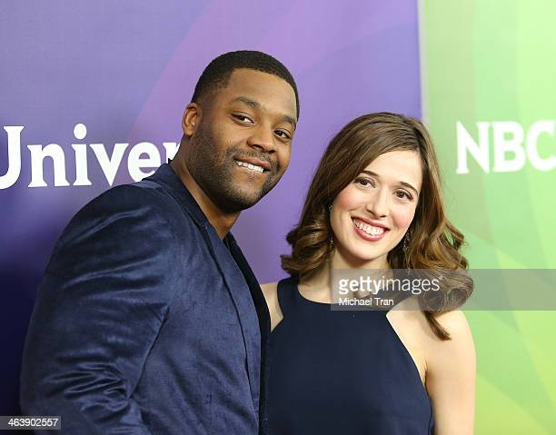 LaRoyce Hawkins and Marina Squerciati arrive at the NBC/Universal 2014 TCA Winter press tour held at The Langham Huntington Hotel and Spa on January...
