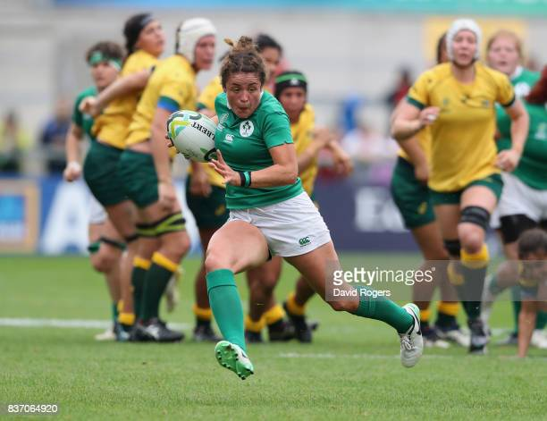 Larrisa Muldoon of Ireland charges upfield during the Women's Rugby World Cup 2017 match between Ireland and Australia at the Kingspan Stadium on...