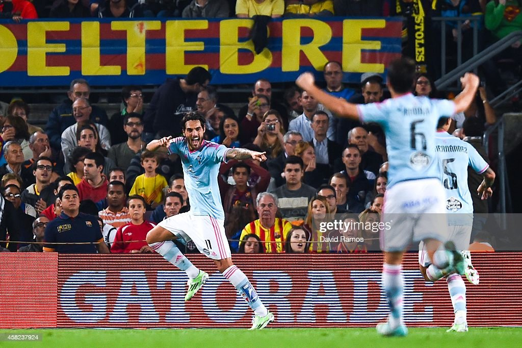 Larrivey of Celta de Vigo celebrates after scoring the opening goal during the La Liga match between FC Barcelona and Celta de Vigo at Camp Nou on November 1, 2014 in Barcelona, Spain.
