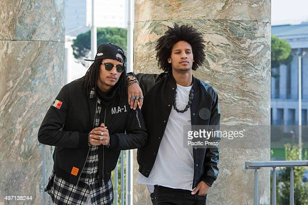 Larry and Laurent of the dance duo 'Les Twins' from France posing during the first day of RedBull BC One world Final 2015 in Rome