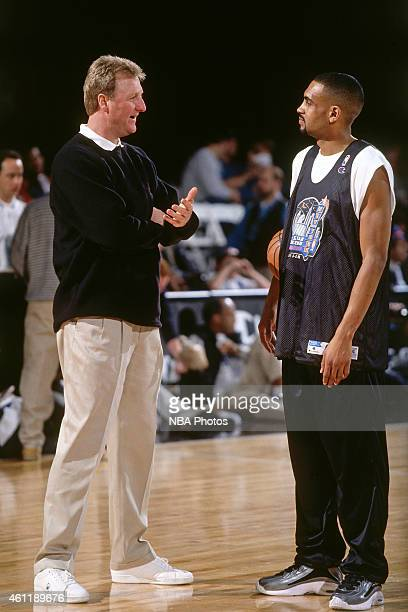 Larry Bird and Grant Hill of the Eastern Conference AllStars talk during NBA AllStar Practice on February 8 1998 as part of 1998 NBA AllStar Weekend...