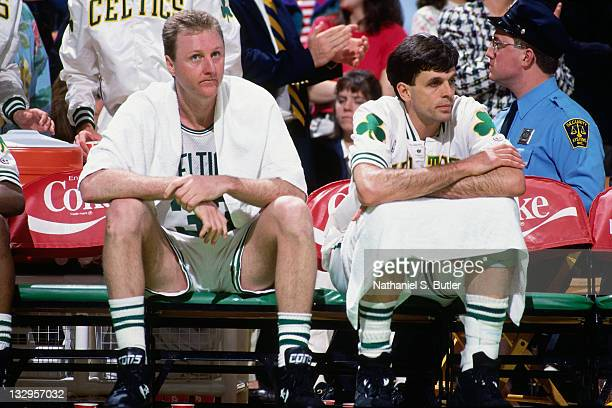 Larry Bird and Kevin McHale of the Boston Celtics sit on the bench circa 1991 at the Boston Garden in Boston Massachusetts NOTE TO USER User...