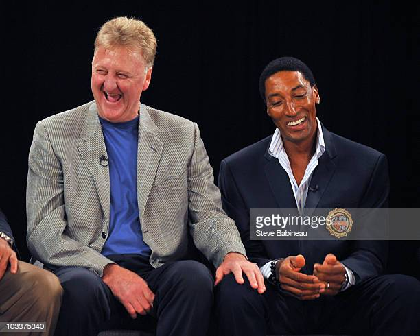 Larry Bird and Scottie Pippen of the1992 Olympic Men's Basketball Team know as the 'Dream Team' in roundtable reunion on August 13 2010 in...
