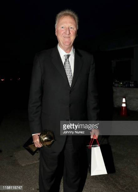 Larry Bird corecipient of the Lifetime Achievement Award poses during the 2019 NBA Awards presented by Kia on TNT at Barker Hangar on June 24 2019 in...