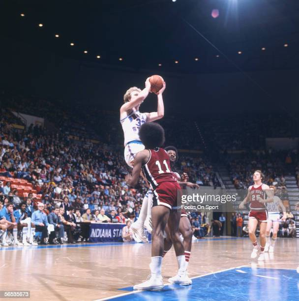 Larry Bird of Indiana State jumps and shoots against West Texas circa the late 1970's during a college game