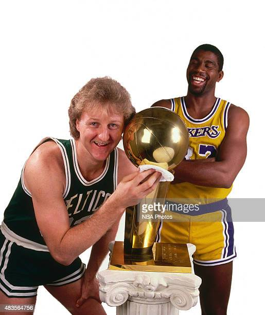 Larry Bird of the Boston Celtics and Magic Johnson of the Los Angeles Lakers pose for a portrait during the 1984 NBA Finals at The Forum in Los...