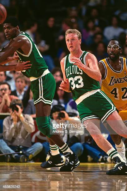 Larry Bird of the Boston Celtics cuts to the basket against the Los Angeles Lakers circa 1991 at the Great Western Forum in Inglewood California NOTE...