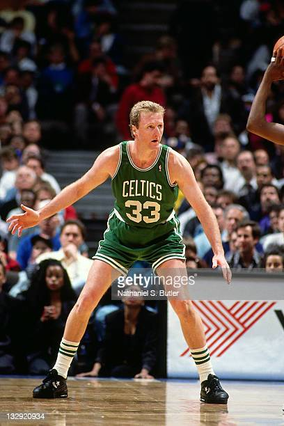 Larry Bird of the Boston Celtics defends at the Boston Garden in Boston Massachusetts circa 1991 NOTE TO USER User expressly acknowledges and agrees...