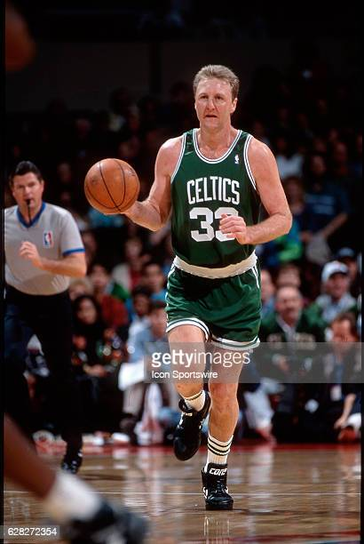 Larry Bird of the Boston Celtics dribbles up court versus the Los Angeles Clippers at the LA Sports Arena in Los Angeles CA
