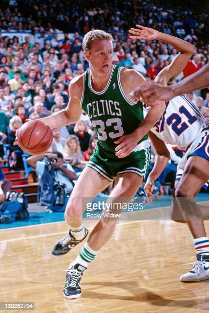 Larry Bird of the Boston Celtics drives against the Sacramento Kings on December 27 1987 at Arco Arena in Sacramento California NOTE TO USER User...