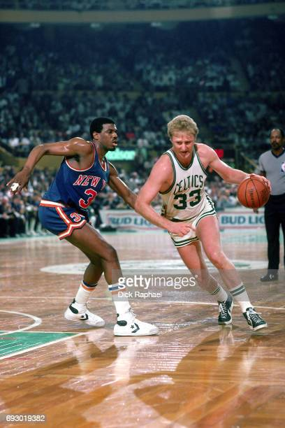 Larry Bird of the Boston Celtics drives circa 1985 at the Boston Garden in Boston Massachusetts NOTE TO USER User expressly acknowledges and agrees...