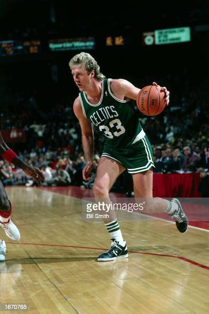 Larry Bird of the Boston Celtics drives during the 1980 NBA game against the Chicago Bulls at Chicago Stadium in Chicago Illinois NOTE TO USER User...