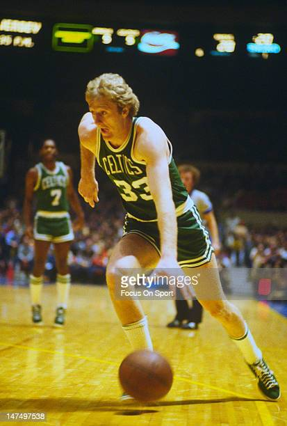Larry Bird of the Boston Celtics drives to the basket during an NBA basketball game circa 1985 Bird played for the Celtics from 1979 92