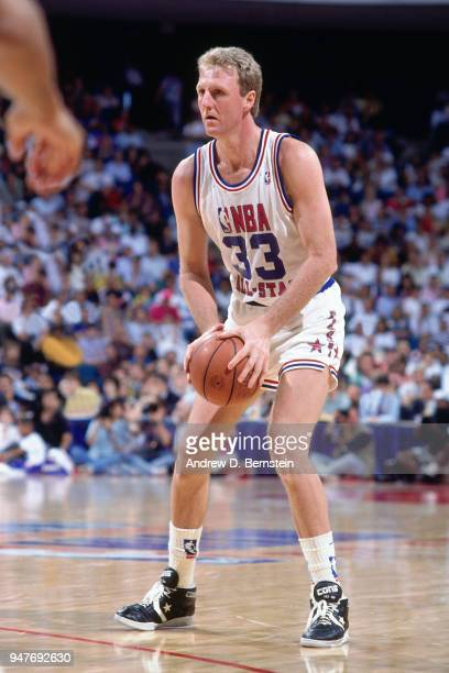 Larry Bird of the Boston Celtics handles the ball during the 1988 NBA AllStar Game on February 7 1988 at Chicago Stadium in Chicago Illinois NOTE TO...