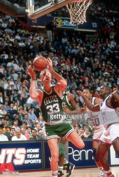 Larry Bird of the Boston Celtics in action against the Washington Bullets during an NBA basketball game circa 1990 at the Capital Center in Landover...