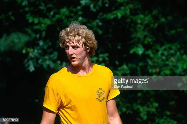 Larry Bird of the Boston Celtics looks on during rookie camp in Boston Massachusetts NOTE TO USER User expressly acknowledges and agrees that by...