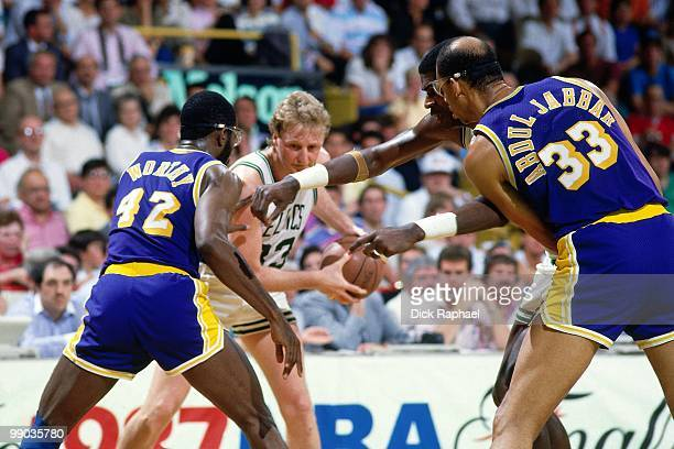 Larry Bird of the Boston Celtics looks to make a move against James Worthy of the Los Angeles Lakers during the 1987 NBA Finals at the Boston Garden...