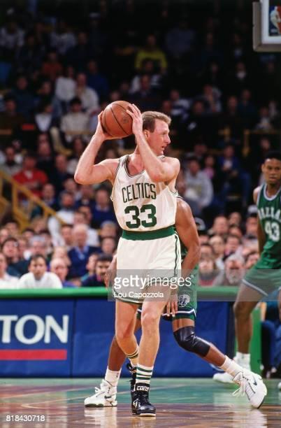 Larry Bird of the Boston Celtics looks to pass against the Dallas Mavericks at Boston Garden in Boston Massachusetts circa 1991 NOTE TO USER User...