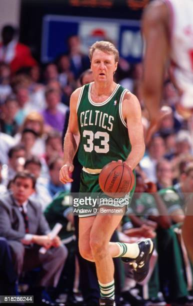 Larry Bird of the Boston Celtics looks to pass during a game circa 1990 at the LA Sports Arena in Los Angeles California NOTE TO USER User expressly...