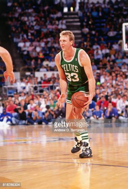 Larry Bird of the Boston Celtics looks to pass during a game circa 1990 in Oakland California NOTE TO USER User expressly acknowledges and agrees...