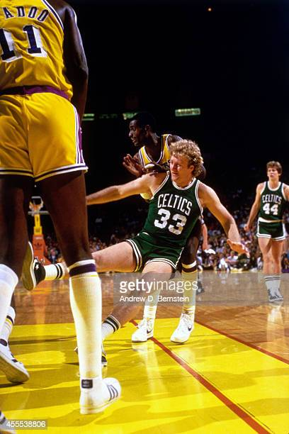 Larry Bird of the Boston Celtics on the court during a game against the Los Angeles Lakers in 1984 at the Great Western Forum in Los Angeles...