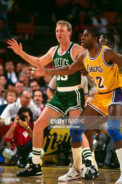 Larry Bird of the Boston Celtics posts up against the Los Angeles Lakers circa 1991 at the Great Western Forum in Inglewood California NOTE TO USER...