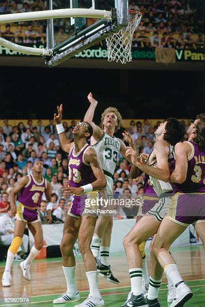 Larry Bird of the Boston Celtics puts up a shot against Kareem Abdul Jabbar of the Los Angeles Lakers in Game Two of the 1985 NBA Finals played on...