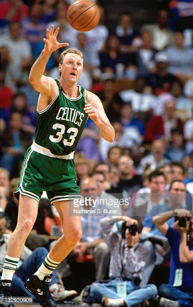 Larry Bird of the Boston Celtics receives the pass at the Boston Garden in Boston Massachusetts circa 1991 NOTE TO USER User expressly acknowledges...
