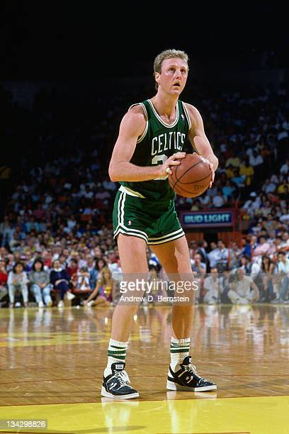Larry Bird of the Boston Celtics shoots a foul shot against the Los Angeles Lakers circa 1987 at the Great Western Forum in Inglewood California NOTE...