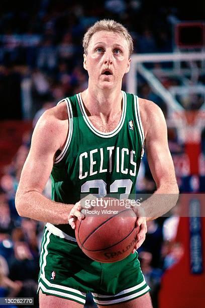 Larry Bird of the Boston Celtics shoots a freethrow against the Sacramento Kings on December 27 1987 at Arco Arena in Sacramento California NOTE TO...