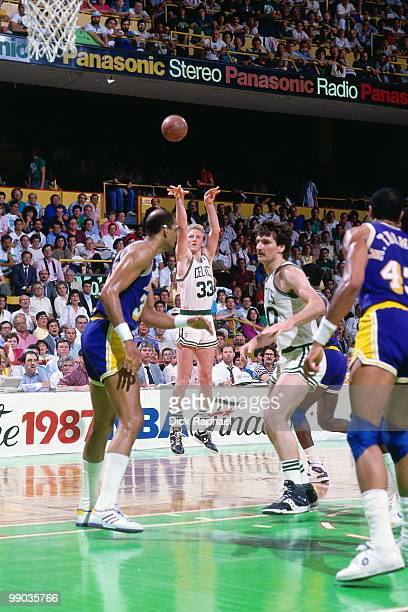 Larry Bird of the Boston Celtics shoots a jump shot against the Los Angeles Lakers during the 1987 NBA Finals at the Boston Garden in Boston...