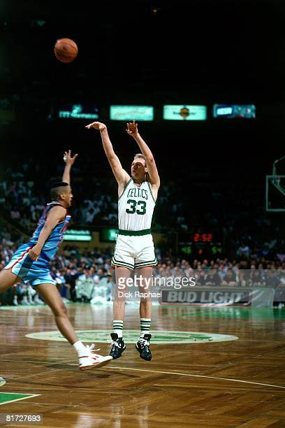 Larry Bird of the Boston Celtics shoots a jump shot against the New Jersey Nets circa 1991 at the Boston Garden in Boston Massachusetts NOTE TO USER...