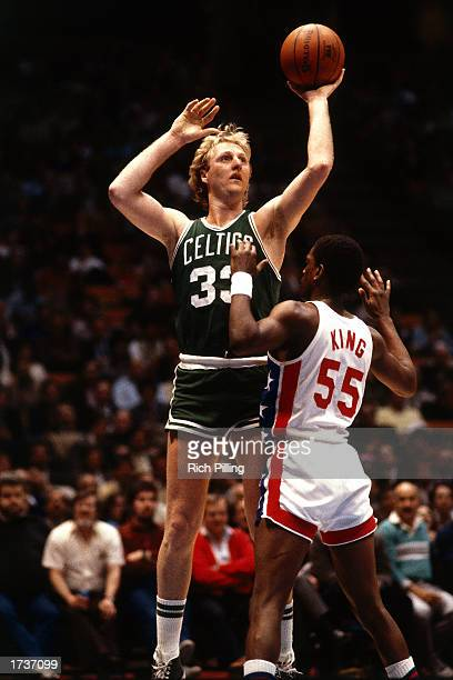 Larry Bird of the Boston Celtics shoots a jumpshot against Albert King of the New Jersey Nets at the Meadowlands Arena on January 1 1985 in East...