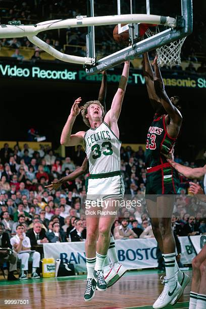 Larry Bird of the Boston Celtics shoots a layup against the Milwaukee Bucks during a game played in 1983 at the Boston Garden in Boston Massachusetts...