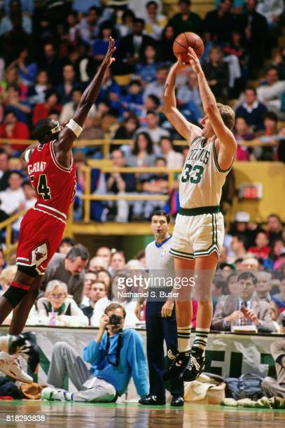 Larry Bird of the Boston Celtics shoots against Horace Grant of the Chicago Bulls during a game at Boston Garden in Boston Massachusetts circa 1990...