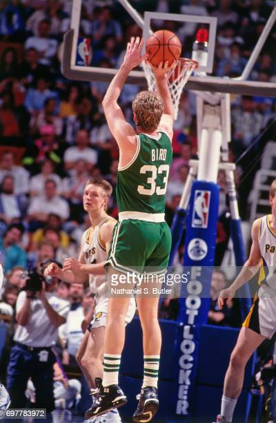 Larry Bird of the Boston Celtics shoots against the Indiana Pacers circa 1990 at the Brendan Byrne Arena in East Rutherford New Jersey NOTE TO USER...