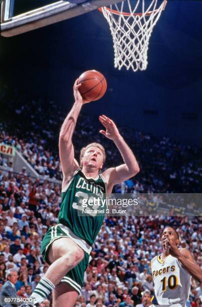 Larry Bird of the Boston Celtics shoots against the Indiana Pacers circa 1990 at Market Square Arena in Indianapolis Indiana NOTE TO USER User...